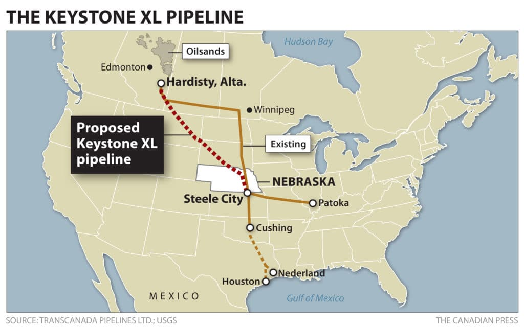 Map of the proposed Keystone XL pipeline