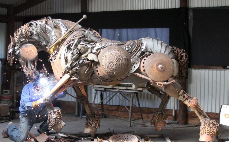 Welded horse sculpture